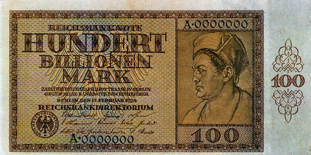 1924 German banknote worth 100 trillion Mark